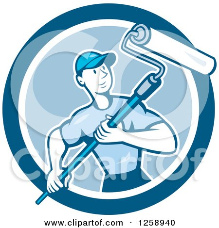 Clipart of a Retro Cartoon Male House Painter with a Roller Brush in a Blue Circle - Royalty Free Vector Illustration by patrimonio