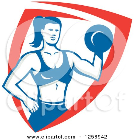 Clipart of a Retro Muscular Fit Woman Working out with a Dummbell in a Red White and Blue Shield - Royalty Free Vector Illustration by patrimonio
