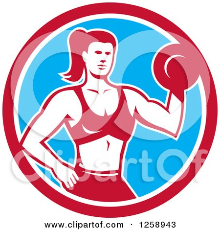 Clipart of a Retro Muscular Fit Woman Working out with a Dummbell in a Red White and Blue Circle - Royalty Free Vector Illustration by patrimonio