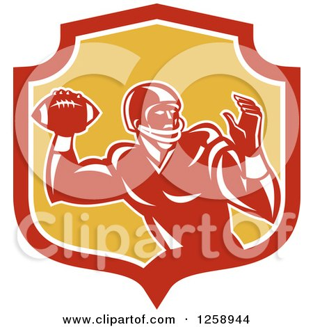 Clipart of a Retro Male American Football Player Throwing in a Red White and Yellow Shield - Royalty Free Vector Illustration by patrimonio