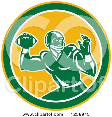 Clipart Of A Retro Male American Football Player Throwing In A Yellow White And Green Circle Royalty Free Vector Illustration