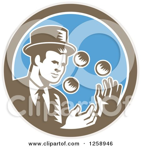Clipart of a Retro Woodcut Male Magician Juggling in a Brown White and Blue Circle - Royalty Free Vector Illustration by patrimonio