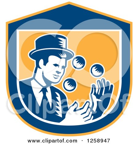 Clipart of a Retro Woodcut Male Magician Juggling in a Yellow Blue and White Shield - Royalty Free Vector Illustration by patrimonio
