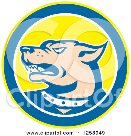 Clipart of a Retro Angry Guard Dog in a Yellow Blue and White Circle - Royalty Free Vector Illustration by patrimonio