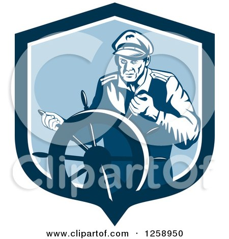 Clipart of a Retro Ship Captain Steering a Helm - Royalty Free Vector Illustration by patrimonio