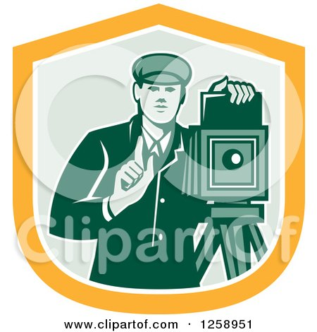 Clipart of a Retro Male Photographer with a Bellows Camera in a Yellow White and Green Shield - Royalty Free Vector Illustration by patrimonio