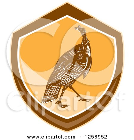 Clipart of a Retro Turkey Bird in an Orange and Brown Shield - Royalty Free Vector Illustration by patrimonio