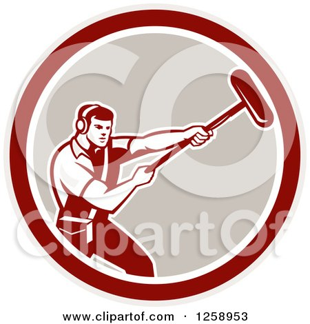 Clipart of a Retro Male Soundman Film Crew Guy Holding a Microphone in a Circle - Royalty Free Vector Illustration by patrimonio