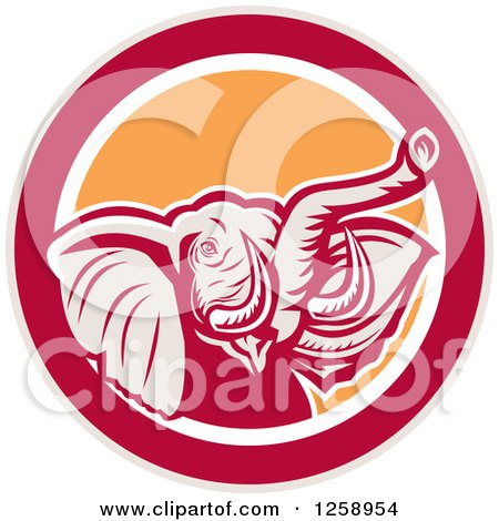 Clipart of a Retro Angry Elephant in a Taupe Red White and Orange Circle - Royalty Free Vector Illustration by patrimonio