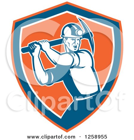 Clipart of a Retro Male Coal Miner Swinging a Pickaxe in an Orange Blue and White Shield - Royalty Free Vector Illustration by patrimonio