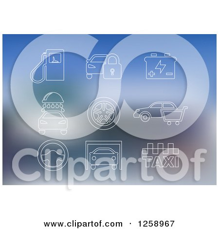Clipart of White Automotive Icons on Blurred Blue - Royalty Free Vector Illustration by Vector Tradition SM