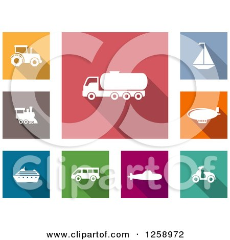 Clipart of Colorful Square Icons with White Transportation Vehicles - Royalty Free Vector Illustration by Vector Tradition SM