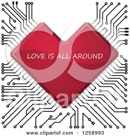 Clipart of a Red Circuit Heart with Love Is All Around Text - Royalty Free Vector Illustration by Vector Tradition SM