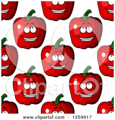 Clipart of a Seamless Pattern Background of Happy Red Apples - Royalty Free Vector Illustration by Vector Tradition SM