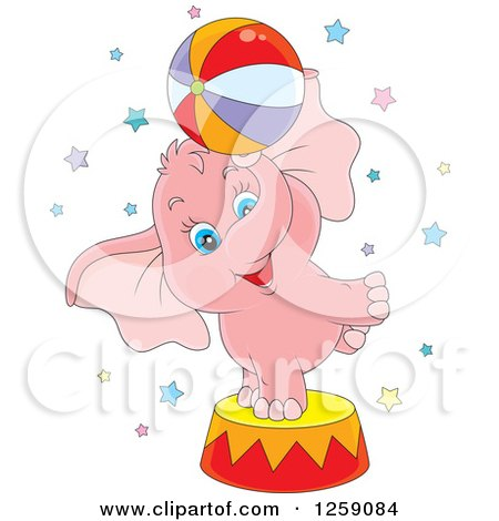 Clipart Of A Cute Pink Circus Elephant Balancing A Ball On A Podium Royalty Free Vector Illustration