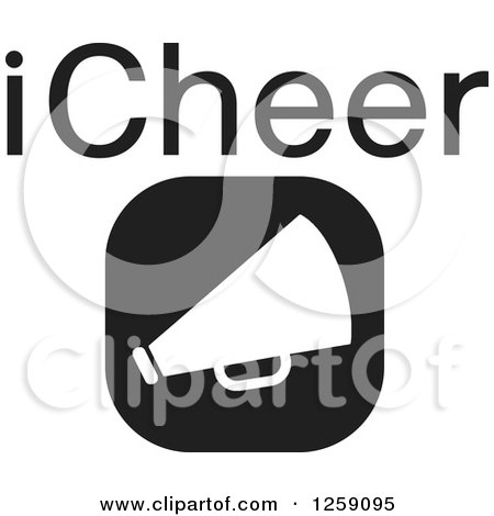 Clipart of a Black and White Square Megaphone Icon with ICheer Text - Royalty Free Vector Illustration by Johnny Sajem