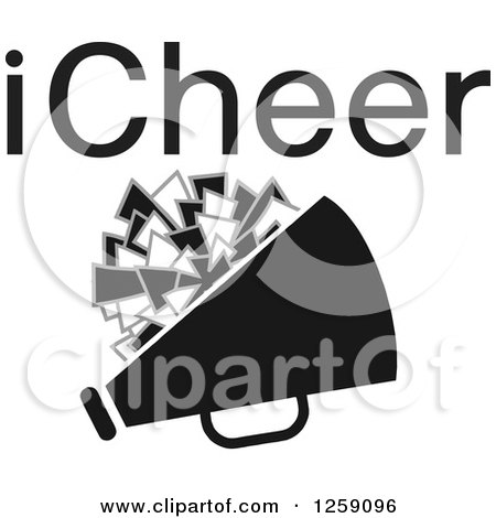 Clipart of a Square Megaphone and Pom Pom Icon with ICheer Text - Royalty Free Vector Illustration by Johnny Sajem