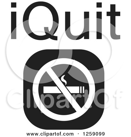 Clipart of a Black and White Square No Smoking Icon with IQuit Text - Royalty Free Vector Illustration by Johnny Sajem
