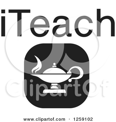 Clipart of a Black and White Square Lamp Icon with ITeach Text - Royalty Free Vector Illustration by Johnny Sajem