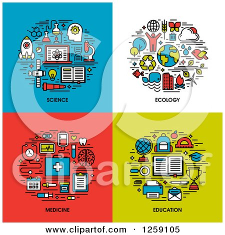 Clipart of Science, Ecology, Medicine, Education Icons - Royalty Free Vector Illustration by elena