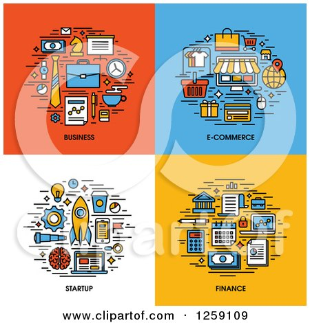 Clipart of Business, E-commerce, Startup, Finance Icons - Royalty Free Vector Illustration by elena