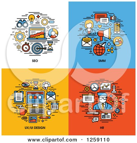 Clipart of SEO, SMM, UI and UX Design, HR Icons - Royalty Free Vector Illustration by elena