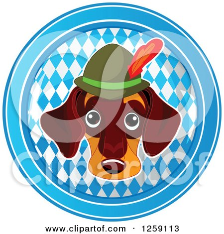 Clipart of a German Dachshund Oktoberfest Dog over a Circle of Diamonds - Royalty Free Vector Illustration by Pushkin