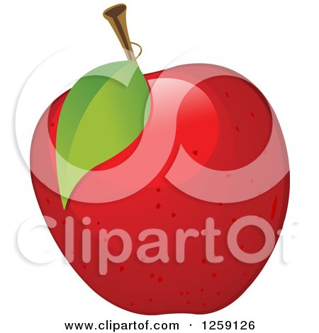 Clipart of a Red Apple with a Leaf - Royalty Free Vector Illustration by Pushkin