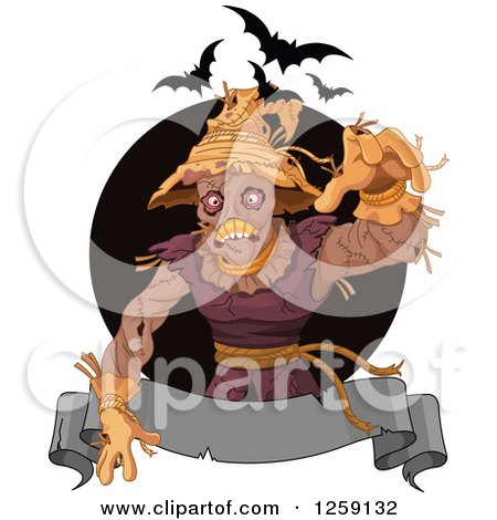 Clipart of a Spooky Scarecrow Reaching over a Banner with Bats - Royalty Free Vector Illustration by Pushkin