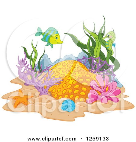 Clipart of a Coral Reef with a Fish and Seahorse - Royalty Free Vector Illustration by Pushkin