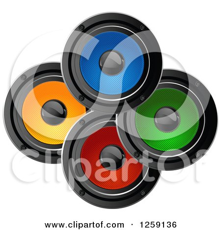 Clipart of Colorful Music Speakers - Royalty Free Vector Illustration by Pushkin