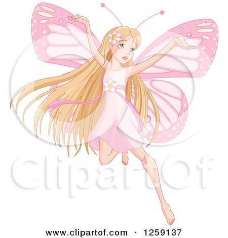 Clipart of a Blond Haired Pink Fairy Flying - Royalty Free Vector Illustration by Pushkin