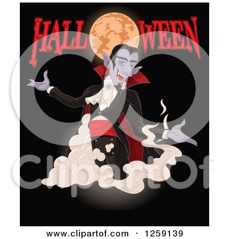 Clipart of a Vampire Dracula Appearing Under a Full Moon with Halloween Text on Black - Royalty Free Vector Illustration by Pushkin