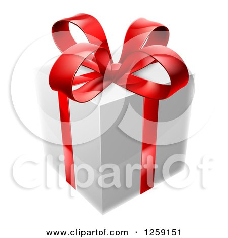 Clipart of a 3d White Gift Box with a Red Bow - Royalty Free Vector Illustration by AtStockIllustration