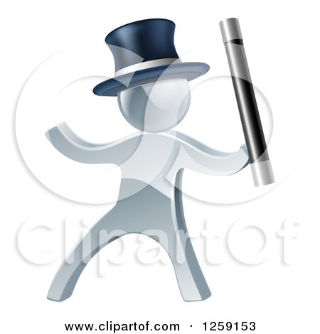 Clipart of a 3d Silver Man Magician Using a Baton Wand - Royalty Free Vector Illustration by AtStockIllustration
