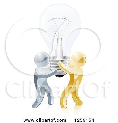 Clipart of 3d Gold and Silver Men Carrying a Light Bulb - Royalty Free Vector Illustration by AtStockIllustration