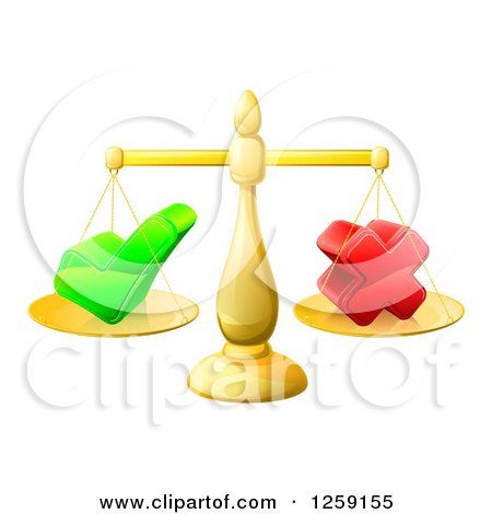 Clipart of 3d Gold Scales Balancing a Check Mark and X Cross - Royalty Free Vector Illustration by AtStockIllustration