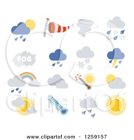 Clipart of Weather Icons - Royalty Free Vector Illustration by AtStockIllustration