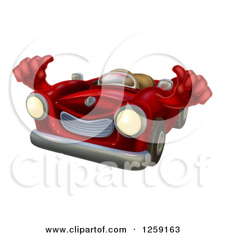 Clipart of a Happy Red Car Holding Thumbs up - Royalty Free Vector Illustration by AtStockIllustration