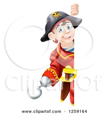Clipart of a Happy Young Pirate Captain Looking Around a Sign - Royalty Free Vector Illustration by AtStockIllustration