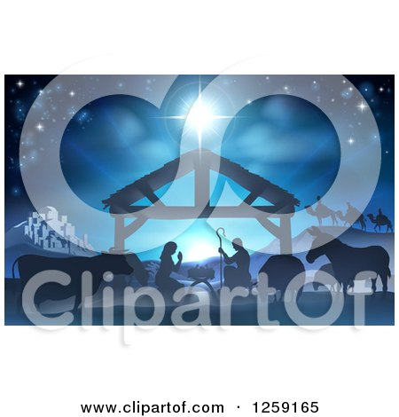 Clipart Of A Nativity Scene With The Animals And Wise Men In The Distance And The City Of Bethlehem Royalty Free Vector Illustration