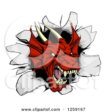Fierce Red Dragon Mascot Head Breaking Through a Wall Posters, Art Prints