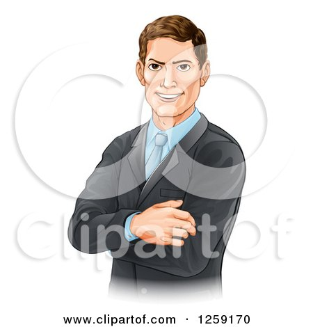 Clipart of a Handsome Brunette Caucasian Businessman with Folded Arms - Royalty Free Vector Illustration by AtStockIllustration