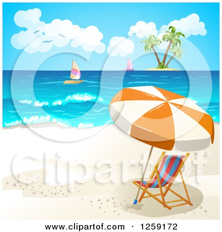 Clipart of a Beach Chair and Umbrella with a View of an Island and Sailboats - Royalty Free Vector Illustration by merlinul