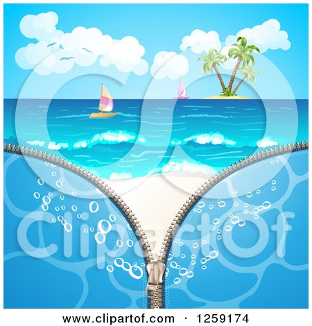 Clipart of a Zipper Revealing an Island and Sailboats on a Beach - Royalty Free Vector Illustration by merlinul