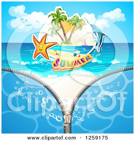 Clipart of a Zipper Revealing a Starfish Summer Text and a Dolphin on a Beach - Royalty Free Vector Illustration by merlinul