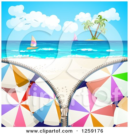 Clipart of an Umbrella Zipper Revealing a Tropical Beach, Island and Sailboats - Royalty Free Vector Illustration by merlinul