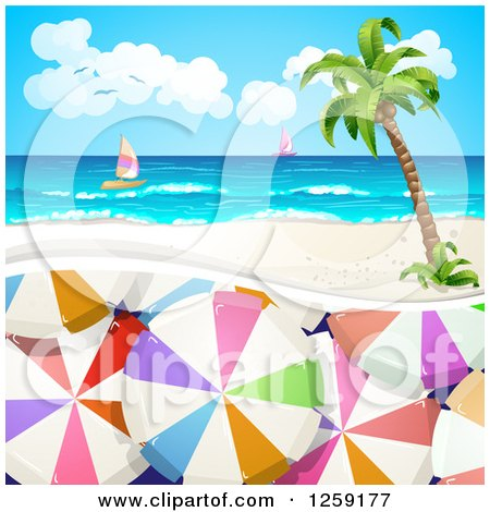 Clipart of Umbrellas Under a Tropical Beach, Island and Sailboats - Royalty Free Vector Illustration by merlinul