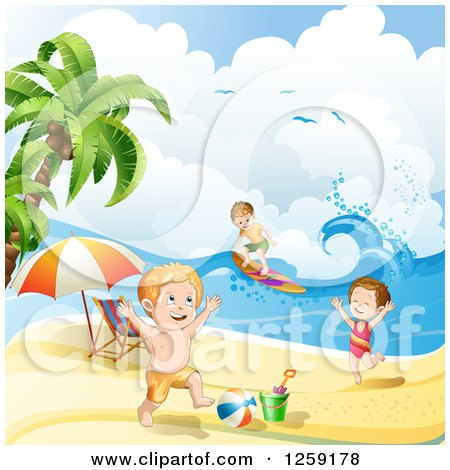 Clipart of a Caucasian Children Surfing and Playing on a Beach - Royalty Free Vector Illustration by merlinul