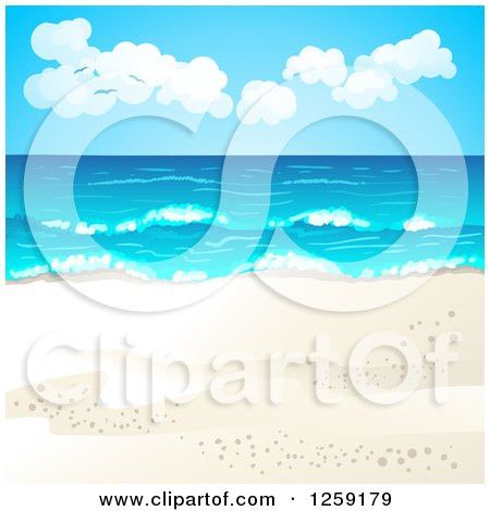 Clipart of a Tropical Beach Background - Royalty Free Vector Illustration by merlinul
